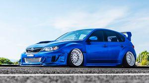Preview wallpaper subaru, car, blue, side view