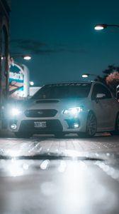 Preview wallpaper subaru, car, headlights, glow