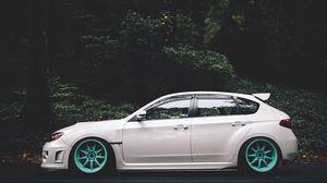 Preview wallpaper subaru, impreza, wheels, side view, white
