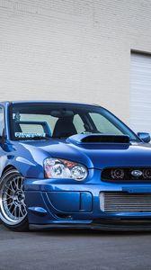 Preview wallpaper subaru, impreza, wrx, sti, blue, garage