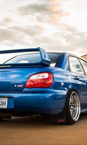 Preview wallpaper subaru, impreza, wrx, sti, blue, rear view
