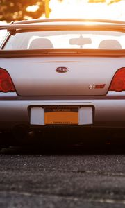 Preview wallpaper subaru, impreza, wrx, sti, car, bumper, rear view