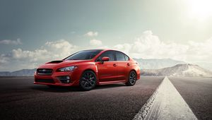 Preview wallpaper subaru, red, road, side view