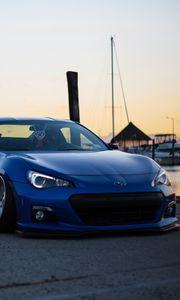 Preview wallpaper subaru, side view, blue, sports car, tuning