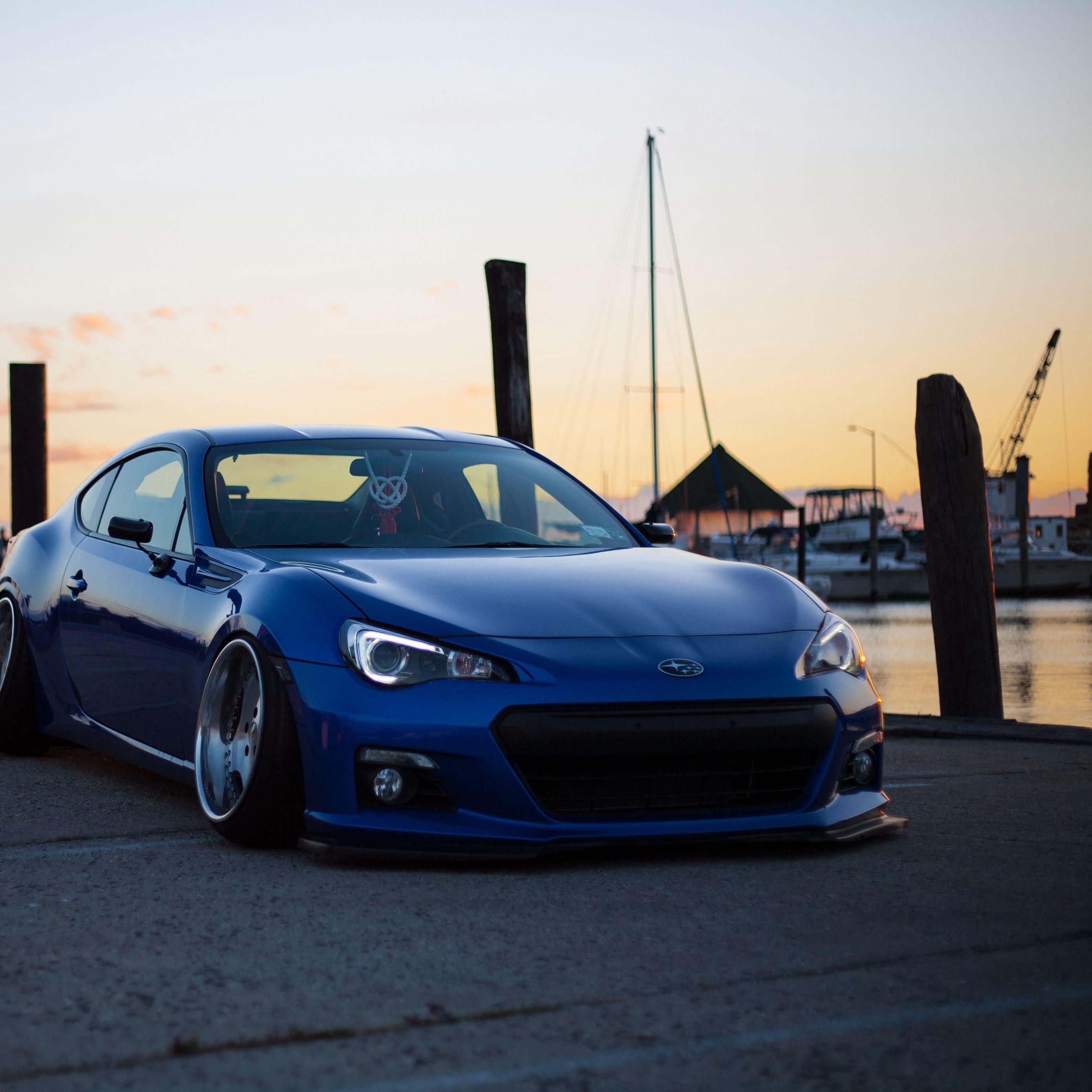 2780x2780 Wallpaper subaru, side view, blue, sports car, tuning