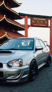 Preview wallpaper subaru, silver, side view, pagoda
