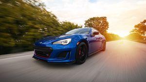 Preview wallpaper subaru, speed, car, road, motion, blue