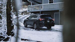 Preview wallpaper subaru, suv, car, black, snow, winter