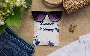 Preview wallpaper summer, inscription, glasses, bag, clothes, flowers