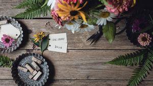 Preview wallpaper summer, love, flowers, bouquet, inscription
