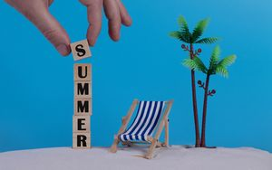 Preview wallpaper summer, word, cubes, letters, hand