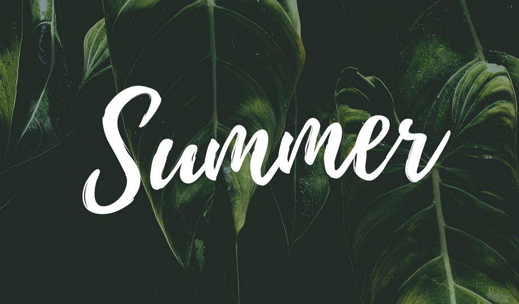 1024x600 Wallpaper summer, word, inscription, text, leaves