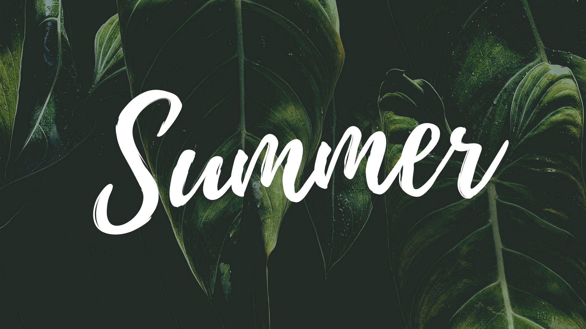 2048x1152 Wallpaper summer, word, inscription, text, leaves