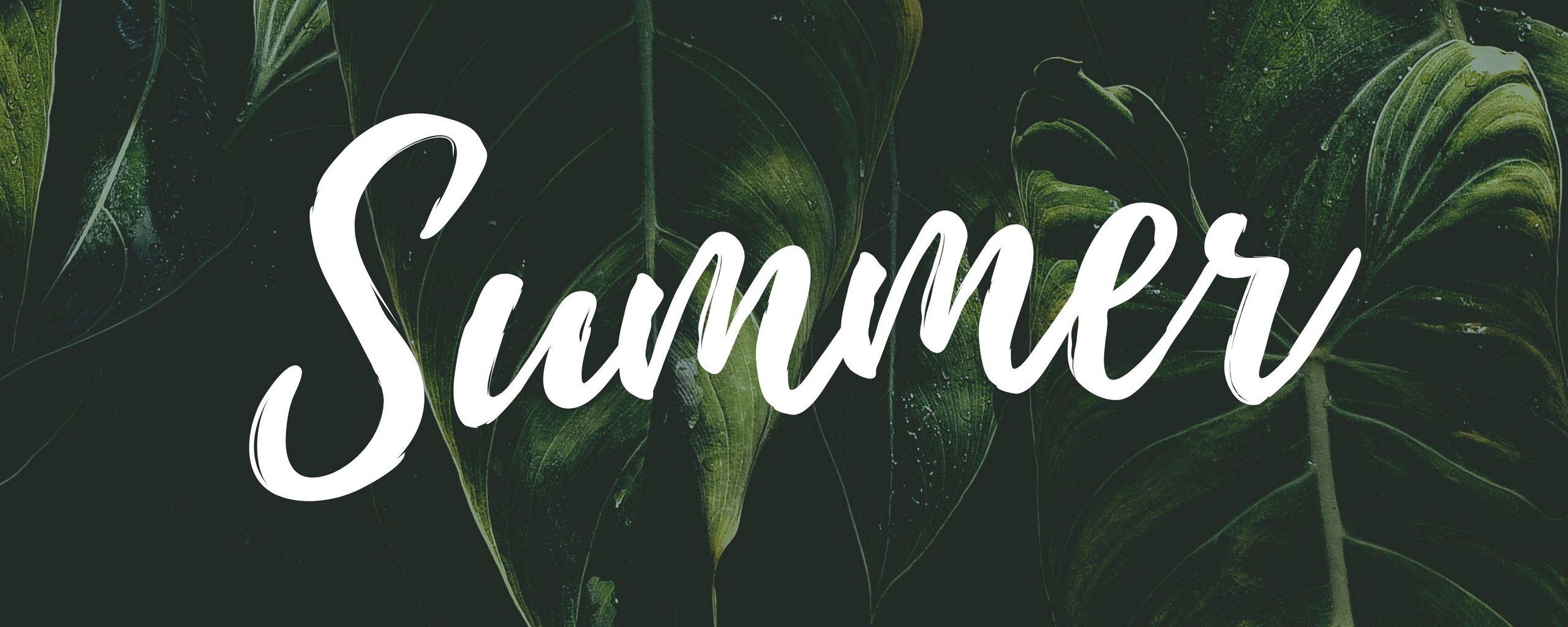 2560x1024 Wallpaper summer, word, inscription, text, leaves