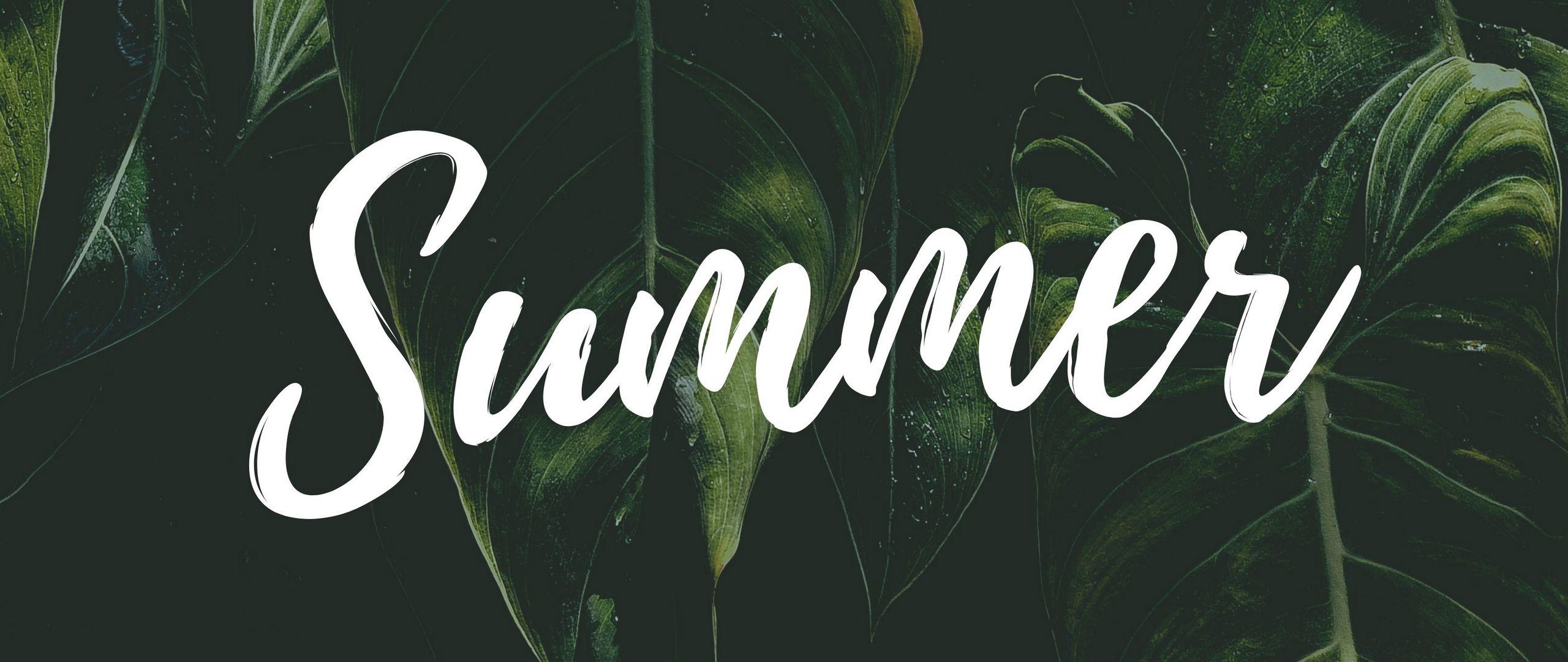 2560x1080 Wallpaper summer, word, inscription, text, leaves
