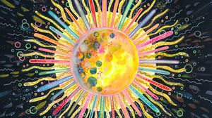Preview wallpaper sun, art, circle, line, colorful, abstraction