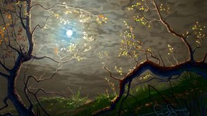 Preview wallpaper sun, clouds, art, branches, trees