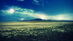 Preview wallpaper sun, sky, strips, heat, luminescence, desert, bushes