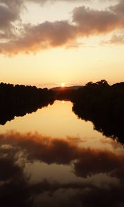 Preview wallpaper sun, sunset, lake, reflection, trees, dark