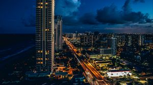 Preview wallpaper sunny isles beach, united states, skyscrapers, night