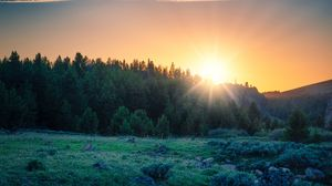 Preview wallpaper sunrise, forest, mountains, landscape, sunlight