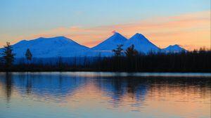 Preview wallpaper sunrise, mountains, lake, landscape, morning