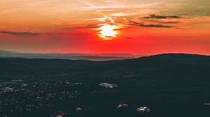 Preview wallpaper sunset, aerial view, budapest, hungary