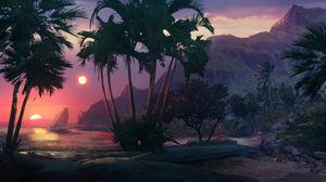 Preview wallpaper sunset, beach, palm trees, sea, art