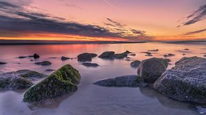 Preview wallpaper sunset, blocks, horizon, distance
