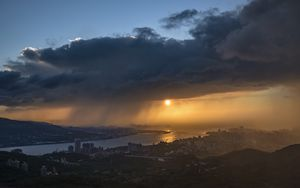 Preview wallpaper sunset, city, river, clouds, aerial view