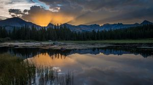 Preview wallpaper sunset, lake, grass, reflection, mountains