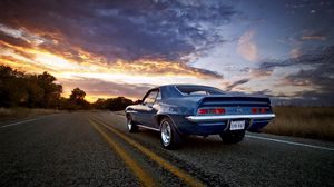 Preview wallpaper sunset, road, camaro