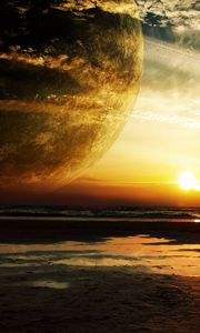 Preview wallpaper sunset, sea, rings, planet