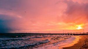 Preview wallpaper sunset, sea, sun, landscape