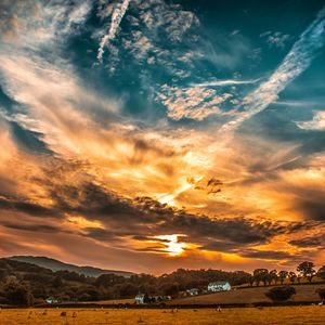 Preview wallpaper sunset, sky, clouds, field, trees, horizon