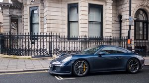 Preview wallpaper supercar, 991, london, blue, gt3, porsche