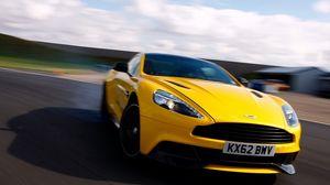 Preview wallpaper supercar, yellow, road, speed, blur, limber, aston martin