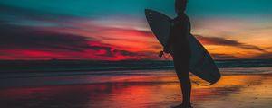 Preview wallpaper surfer, surfing, shore, sunset, twilight