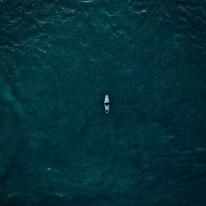 Preview wallpaper surfer, surfing, top view, ocean