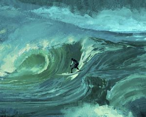Preview wallpaper surfer, wave, sea, surfing, art