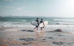 Preview wallpaper surfers, surfing, ocean, beach, waves