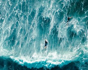 Preview wallpaper surfers, waves, aerial view, surfing, ocean