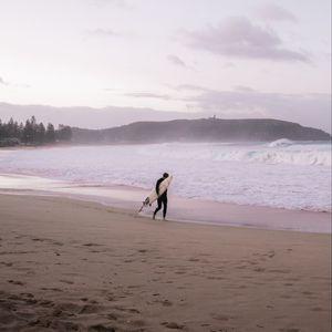Preview wallpaper surfing, board, man, waves, coast, beach