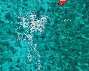 Preview wallpaper surfing, man, ocean, aerial view