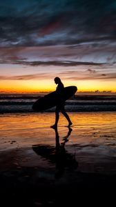 Preview wallpaper surfing, man, silhouette, sunset