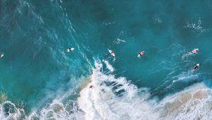 Preview wallpaper surfing, ocean, rocks, aerial view