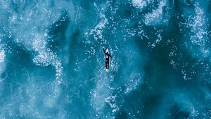 Preview wallpaper surfing, ocean, waves, top view