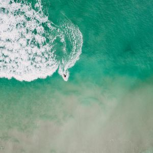 Preview wallpaper surfing, sea, aerial view, foam
