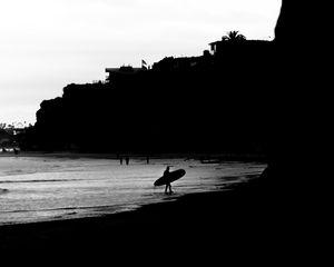 Preview wallpaper surfing, surfer, bw, coast, rocks