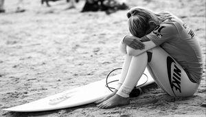 Preview wallpaper surfing, surfer, girl, sport, nike, bw
